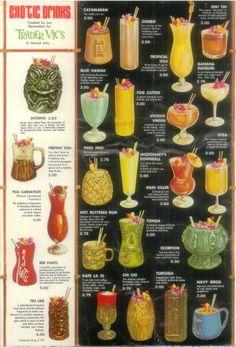 Trader Vic's Honolulu exotic drinks offerings