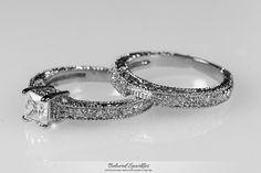 Lupe Princess Cut Filigree Engagement and Wedding Ring Set | 2 Carat | Cubic Zirconia