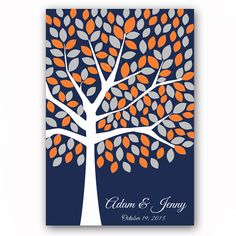 Wedding Guest Book Poster Wedding Tree Guestbook Alternative for 175 Guests Orange and Navy Wedding Print Fall Wedding Guestbook Poster