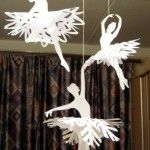 snowflake ballerinas with template downloads.  Cut snowflake place over cardstock ballerina and hang. Possible for holiday crafts made by kids for winter showcase.