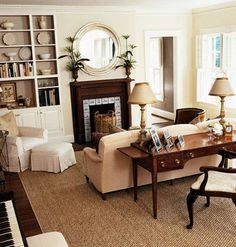 Similar small tiled fireplace like our den. Handmade tiles can be colour coordinated and customized re. shape, texture, pattern, etc. by ceramic design studios Desk In Living Room, Living Room Decor, Living Spaces, Living Rooms, Furniture Layout, Furniture Arrangement, Bedroom Furniture, Furniture Placement, Furniture Ideas