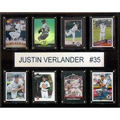 C Collectables MLB 12x15 Justin Verlander Detroit Tigers 8-Card Plaque