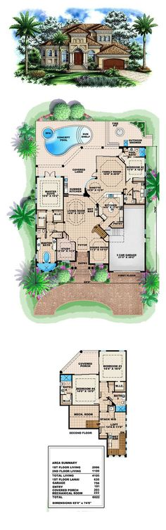 House Plan 60437 | Total living area: 4105 sq ft, 4 bedrooms & 4.5 bathrooms. Outdoor living at its best! You'll never get bored outside with so much to do. Sun and swim in your pool and shower off in the great outdoors! #luxuryhouse #houseplan Architectural Landscape Design