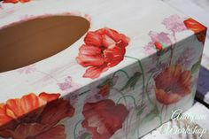 Lovely floral wooden tissue box cover red poppy decoupage