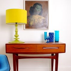 Image of Vintage Furniture - G Plan Console Table- SOLD. This sweet furniture is all over England. G Plan Furniture, Retro Furniture, Cool Furniture, Retro Living Rooms, Mid Century Modern Design, Mid Century Furniture, Interior Design Inspiration, Console Table, Table Lamp