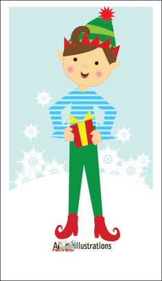 8246feadbf91  Vector Freebie  Christmas elf illustrations with a gift Character  illustration - Asmaa Imtiaz - Graphics