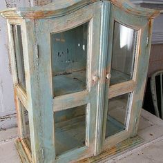 Large Display Cabinet Distressed French Blue And White Wood Gl Showcase Very Heavy Well Made Antique Home Decor Anita Spero Design