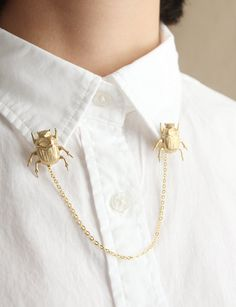 Brass Beetle Collar Brooches by ticktacktick on Etsy