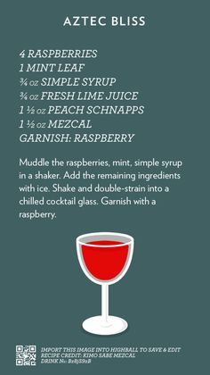 Aztec Bliss | Cocktail Catalog #cocktails #mezcal Mezcal Cocktails, Party Drinks, Fun Drinks, Refreshing Drinks, Beverages, Cocktail Menu, Cocktail Recipes, Liquor Drinks, Alcoholic Drinks