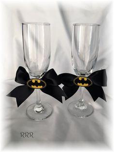 Batman Wedding Toasting Wine Flutes Glasses Black and by RammaRuRu