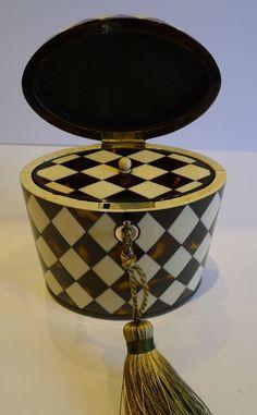 Rare Antique English Oval Tea Caddy - Harlequin Design c.1810