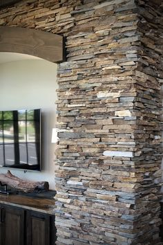 Most up-to-date Pic real Stone Fireplace Style Cinnamon Bark Ledgestone interior stone veneer is featured in a stacked stone orientation (vs thin Faux Stone Walls, Stacked Stone Walls, Stacked Stone Fireplaces, Brick And Stone, Stone Siding, Stone Facade, Stone Masonry, Stone Cladding, Stone Decoration