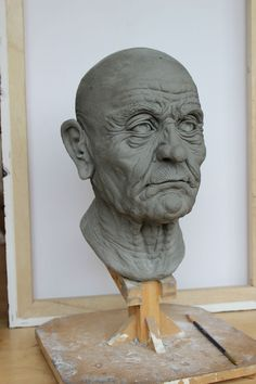 Wrinkly Old Man Head Sculpt - sculpted using oil based clay.