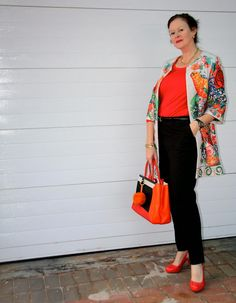 FIFTYFABULOUS, Stylecuratrix: WINTER, BRIGHTER THAN YOU THINK Winter Outfits, Thinking Of You, Orange Outfits, Capri Pants, Kimono Top, Sari, Bright, Coat, Women