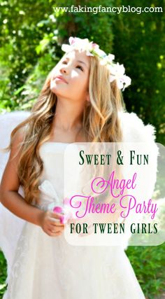 I threw the sweetest angel themed birthday party for my tween daughter. This theme would be great for any girl party, or even a baby or bridal shower!