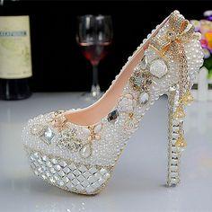 New Fashion Crystal Pearl Wedding Shoes Ultra High Heels Platform White Bridal Formal Dress Shoes Rhinestone Dress Shoes //   Цена: $ US $97.75 & Бесплатная доставка //    #fashionmartonline #мода #стиль