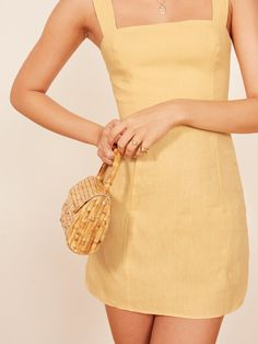 Obsessing over this cute summer sundress from Reformation Brigitte Linen Dress yellow minidress vacation clothing spring wardrobe what to wear for date night outfit inspiration ootd inspo ootn womens trendy clothing yellow