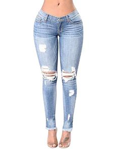 059cd2f1f8 Agujero De La Rodilla Flaco De Pantalones Vaqueros Mujer Bastante La  Rasgados Cintura Alta Estiramiento Agujero
