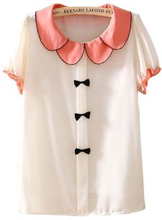 Beige Lapel Short Sleeve Bow Chiffon Blouse - Sheinside.com