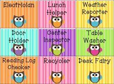 Owl Classroom Ideas | Owl Classroom Jobs - Second Grade Discoveries - TeachersPayTeachers ...
