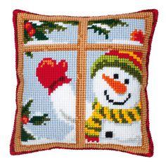 Embroidery Kits, Cross Stitch Embroidery, Cross Stitch Patterns, Snowman Cross Stitch Pattern, Bead Organization, Bead Storage, Cross Stitch Cushion, Beading Tools, Christmas Cushions