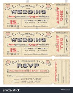 Three Hi Detail Vector Grunge Tickets For Wedding Invitations And Save The Date Each Ticket Is On 4 Different Layers With Text Decors Texture Effect
