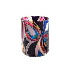 Hand Painted Mini Candle Holder Decorative Glass by SylwiaGlassArt, $30.00