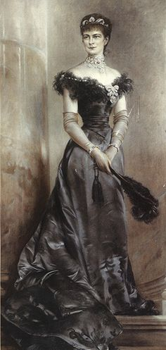 After the death of Sissi's only son, Corwn Prince Rudolf, at Maylering on 30 January 1889, Sissi wore mourning dress of either black or grey