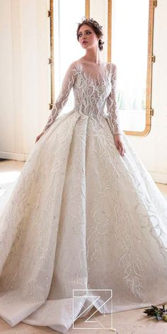 Disney Wedding Dresses For Fairy Tale Inspiration ★ disney wedding dresses tiana ball gown illusion neckline with long sleeves lace ziad nakad Disney Wedding Dresses, Luxury Wedding Dress, Disney Dresses, Princess Wedding Dresses, Elegant Wedding Dress, Cheap Wedding Dress, Dream Wedding Dresses, Designer Wedding Dresses, Bridal Dresses