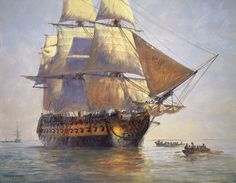 Geoff Hunt painting of the HMS Indefatigable (great name).