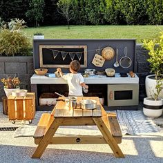 Outdoor Play Areas For Toddlers Backyard Ideas Kids Outdoor Spaces, Kids Outdoor Play, Outdoor Play Areas, Backyard For Kids, Backyard Play Areas, Backyard Games, Outdoor Games, Kids Play Kitchen, Mud Kitchen