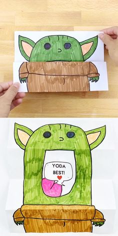 art for kids DIY Baby Yoda Card. Cute Valentine card kids can make. Get the printable template. Homemade Valentine Cards, Cute Valentines Card, Valentine Crafts For Kids, Printable Valentine Cards, Ideas For Valentines Day, Valentine Wreath, Valentine Box, Valentine's Cards For Kids, Diy For Kids