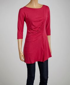 Look what I found on #zulily! Sangria Pleated Three-Quarter Sleeve Top by Blue Canoe #zulilyfinds