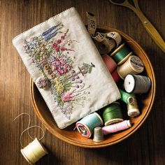 Embroidered Country Gardens Needlecase kit by Lorna Bateman Silk Ribbon Embroidery, Embroidery Stitches, Embroidery Patterns, Hand Embroidery, Crochet Patterns, Needle Case, Needle Book, Painting Patterns, Print Patterns
