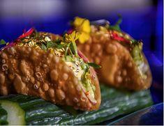 Myn-Tu's Asian Lobster Tacos Recipe - The Classy Chics Asian Lobster Recipe, Lobster Recipes, Lobster Tacos, Fried Lobster, Sweet Chilli Sauce, Sweet Chili, Asian Tacos, Wonton Tacos, Wonton Recipes