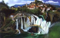 Tivador Kosztka Csontváry (Hungarian [Post-Impressionism, Expressionism] Waterfall at Jajce, Budapest, Russian Painting, Post Impressionism, Art Database, Fantastic Art, Cubism, Pilgrimage, Painting Inspiration, Abstract Art