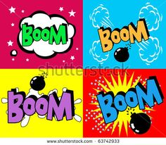 stock vector : 4 Superhero bashing Comics Bubble with text Popart