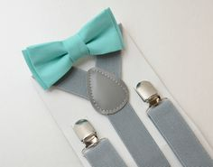 Sizes 6 months- Adult  Kids Mens Baby Boys Light Gray Suspenders & Robin Egg Blue Aqua Turquoise Cotton bow tie Wedding Page Boy Groom SET