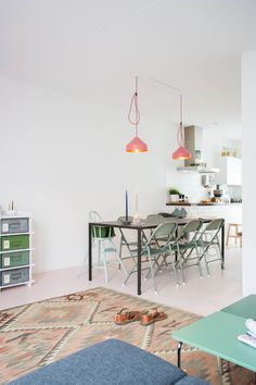 floor in a subtle shade of pink, green accents, Dutch Design Duo Family Home | photo: Holly Marder for decor8