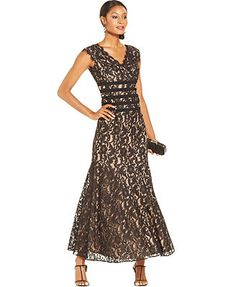 JR Nites Contrast Lace Banded Mermaid Gown