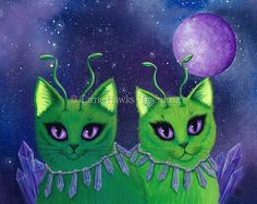 """Alien Cats"" 8"" x 10"" Acrylic and Spray paint on Masonite Panel, 2015. An adorable green Alien Cats from the purple crystal planet Meowthon in search of catnip! Prints & Gift Items featuring this artwork are available on my website. © Carrie Hawks, Tigerpixie Art Studio, Fantasy Cat Art Tigerpixie.com"