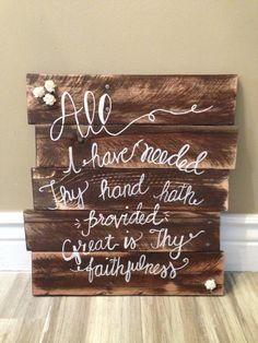 large wood sign rustic great is thy faithfulness scripture sign handmade bible verse wall art christian reclaimed wood pallet wood Wood Pallet Signs, Diy Wood Signs, Pallet Art, Wall Signs, Wood Pallets, Scripture Signs, Bible Verse Wall Art, Quote Art, Scriptures