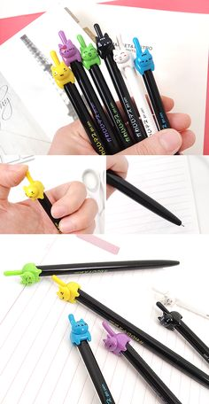 Hello kitty lovers! The sweetest kitty gel pen is here for you. It has 0.5mm pen tip with black ink and also an adorable kitty on the top of the pen!