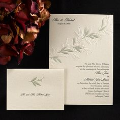 Perfect for an elegant fall or spring wedding this gold shimmer invitation adds a touch of class to your gala! Sweeping embossed vines and gold leaves separate your names and event date from the invitation copy. Enclosures feature a matching gold leaf design with your wording printed below.