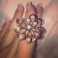 Blush Pink Peach Flower Stone Ring Funky statement piece. Some loose stones, breaks off easily. Make an offer! Jewelry Rings