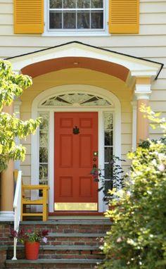 34 new ideas barn red front door entryway Front Door Paint Colors, Painted Front Doors, Front Door Design, Front Door Entryway, Entrance Doors, Front Door Decor, House Entrance, Side Door, Patio Doors