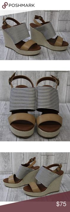 """Double Nautical Wide Band Wedge Sandal Two banded ankle strap wedge sandal.  Textile Imported Heel measures approximately 4.25"""" Platform measures approximately 1.25 inches Wide band is pin stripe fabric Flexible sole Urban Outfitters Shoes Wedges"""