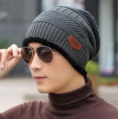 oZyc Balaclava Knitted hat scarf cap neck warmer Winter Hats For Men women  skullies beanies warm Fleece dad cap Beanie Knit Hats f7323208a1b8