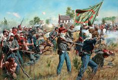 """""""New York's Bravest"""" . The 69th New York and the 11th New York (1st Fire Zouaves) defend the 69th's Green Irish flag at the Battle of First Manassas."""