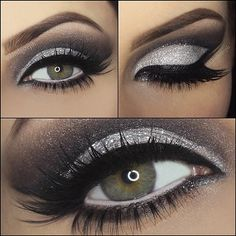 Spectacular Silver & Black Cut-Crease look! #houseoflashes
